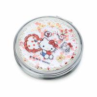 小禮堂 Hello Kitty 圓形流沙隨身雙面鏡 隨身化妝鏡 放大鏡 圓鏡 折鏡 (米 2021新生活)