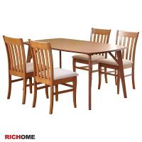 餐桌椅組 餐桌 餐椅 餐廳  RICHOME TA314+CH1102 阿蜜莉亞餐桌椅組(一桌四椅)-2色