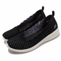 【SKECHERS】休閒鞋 Arya-Comfy Elegance 女鞋 楔形低跟娃娃鞋 增高 泡棉鞋墊 黑 彩(104112-BKMT)