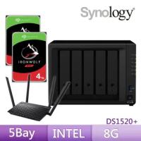 【搭ASUS雙頻分享器+希捷 4TB x2】Synology 群暉科技 DS1520+ 網路儲存伺服器