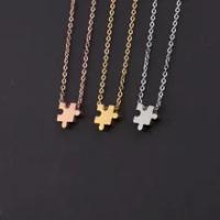 Fnixtar Puzzle Kalung Stainless Steel Jigsaw Geometris DIY Personalisasi Nama Cinta Persahabatan Perhiasan Neckllaces 5 Piece/lot