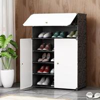 簡易組裝組合塑膠鞋架簡約現代經濟型對開門樹脂防塵鞋櫃