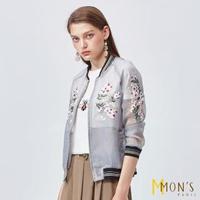【MON'S】輕薄花卉刺繡烏干紗棒球外套