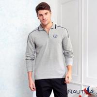 【NAUTICA】運動風修身拼接長袖POLO衫(灰色)