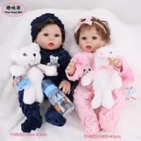 43 Cm 17 ''Full Body Silikon Reborn Bayi Boneka Kembar Mainan Mandi Manusia Hidup Baru Lahir Putri Bayi Boneka Bonecas bebes Reborn Boneka