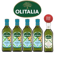 【Olitalia奧利塔】玄米油1000mlx4瓶-禮盒組(+特級初榨橄欖油500mlx1瓶)