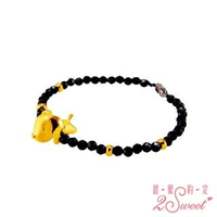 【2sweet 甜蜜約定】狗年純金+黑尖晶石手鍊-約重1.08錢(狗年金飾 純金手鍊)