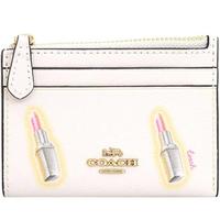 【COACH】白X口紅PVC立體LOGO拉鍊式零錢包