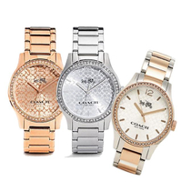 【COACH】經典LOGO晶鑽中性腕錶(贈COACH 氣質C LOGO手拿雙層零錢包2色任選)