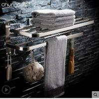 浴室毛巾架304不銹鋼浴巾壁掛拉絲摺疊廁所多層衛生間置物免打孔 8號時光