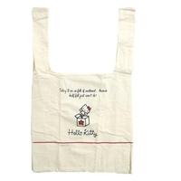 【小禮堂】Hello Kitty 折疊帆布環保購物袋 環保袋 側背袋 帆布袋 《米紅 大臉》