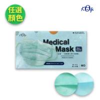 【宏瑋 KOgi】醫用口罩 2色任選 成人平面 50入/盒x2(湖水藍 薄荷綠)
