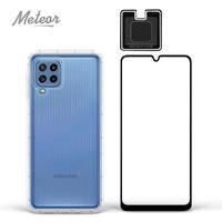 【Meteor】SAMSUNG Galaxy M32 手機保護超值3件組(透明空壓殼+鋼化膜+鏡頭貼)