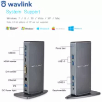 Full HD 2048x1152 USB 3.0 Universal Docking Station+RJ45/DVI/HDMI/VGA/MIC/Audio Port DisplayLink Gigabit Ethernet Online Working