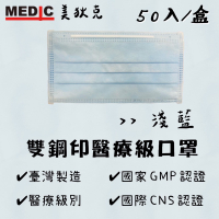 🔥現貨24小時內火速出貨🔥[美狄克成人醫用口罩]淺藍50入台灣製雙鋼印 醫療口罩 (CNS.GMP雙重認證)