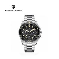 【PAGANI DESIGN】時尚三眼石英水鬼不鏽鋼錶 PD-2773-銀黑黃