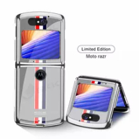GKK Luxury Pattern Plexiglass Fold Case For Motorola Moto Razr Case Plating Edge Hard Protection Cover For Motorola Moto Razr
