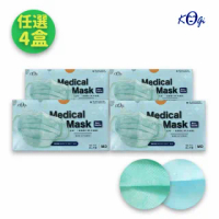【宏瑋 KOgi】醫用口罩 2色任選 成人平面 50入/盒x4(湖水藍 薄荷綠)