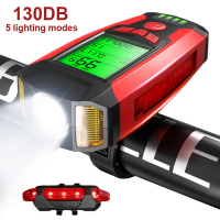 Bike Light Set with Speedometer USB Rechargeable Super Brigh