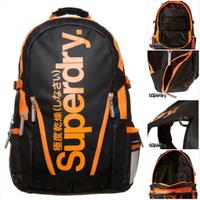 跩狗嚴選 極度乾燥 Superdry 黑 橘Logo 防潑水 後背包 書包 手提包 筆電包 多夾層