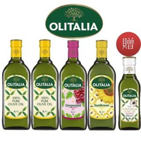 【Olitalia 奧利塔】純橄欖油+葡萄籽油+葵花油禮盒組1000mlx4瓶(+特級初榨橄欖油250mlx1瓶)