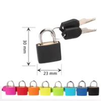 1PCS 30X23มม.ขนาดเล็ก Mini Strong กุญแจเหล็กกระเป๋าเดินทางไดอารี่ล็อค2ปุ่มพลาสติกสีกรณีกุญแจตกแต่ง #30