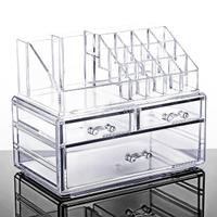 【E-life】透明壓克力多格抽屜化妝品收納盒(口紅架/飾品收納/化妝品收納/壓克力收納)