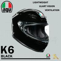 任我行騎士部品 AGV K6 極輕量化 通風 舒適 全新設計 全罩式安全帽 BLACK 亮黑 K-6