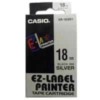 【CASIO 卡西歐】標籤機專用色帶-18mm銀底黑字(XR-18SR1)