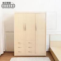 【南亞塑鋼】4.7尺三開門六抽塑鋼衣櫃(白橡色)