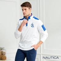 【NAUTICA】立領撞色拼接長袖POLO衫(白色)