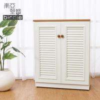 【南亞塑鋼】2.7尺二門塑鋼百葉鞋櫃(原木色+白色)