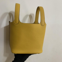 Picotin 菜籃子 18cm 現貨顏色 TC皮 手工蜜蠟線縫制 👍 琥珀黃 手提包 女生精品包包 手拎包