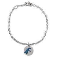 【agnes b.】圓形雕空藍恐龍墜飾手鍊(銀X藍)