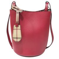 【BURBERRY 巴寶莉】40571531 經典素色質感皮革水桶款肩背/斜背包(紅色)