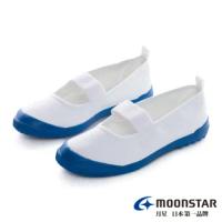 【MOONSTAR 月星】抗菌防滑室內鞋(白藍)