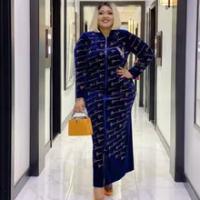 Beludru Afrika Gaun untuk Wanita 2021 Musim Semi Musim Gugur Afrika Pakaian Muslim Maxi Panjang Kualitas Tinggi Fashion Dress Wanita