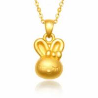 24 พันสีเหลืองทองจี้ 999 ทอง 3D น่ารักกระต่าย 1.69 กรัม