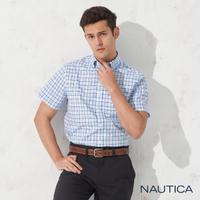 【NAUTICA】經典細格紋短袖襯衫(淺藍)