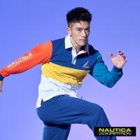 【NAUTICA】COMPETITION撞色拼接長袖POLO衫(藍色)