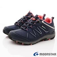 日本月星Moonstar機能女鞋戶外多功能系列4E寬楦防水透濕健走鞋款015深藍(女段)