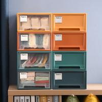 Mr.box【006002】莫蘭迪4色可疊抽屜式內衣小物整理箱收納櫃-4入組-透明、彩色抽屜,兩款可選