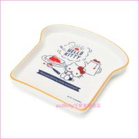 asdfkitty可愛家☆KITTY吃早餐陶瓷盤-吐司造型/點心盤-裝點心.小菜-餐具擺盤-日本正版商品