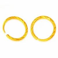 บริสุทธิ์24พันสีเหลืองทองต่างหูรอบDimondตัดห่วง1.8กรัม