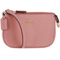 【COACH】粉色皮革小款手拿麻將包