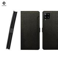 【CASE SHOP】SAMSUNG Galaxy A42 專用前插卡側立式皮套-黑(嚴選高質感紋路皮料前收納夾層設計)