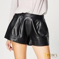 【MON'S】巴黎優雅修身俏麗抓褶皮短褲(100%綿羊皮)
