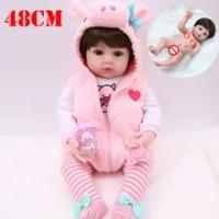 Baru Lahir Bayi Ukuran 48 Cm Full Body Silikon Reborn Boneka Bayi Berwarna Merah Muda Babi Gaun Set BEBE Reborn Boneca Tahan Air bak Mandi Air Panas Boneka Mainan Hadiah