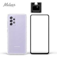 【Meteor】SAMSUNG Galaxy A52 5G 手機保護超值3件組(透明空壓殼+鋼化膜+鏡頭貼)