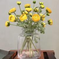 False flower silk flower modern simple home decoration flower yellow 3-Head twig Lu Lianhua Lu Lianhua